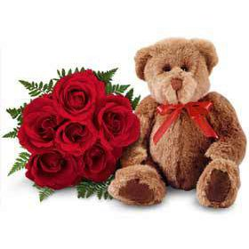 Teddy Bear with 6 Roses
