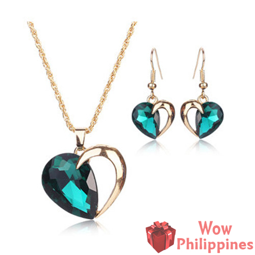 Aqua Crystal Heart Set